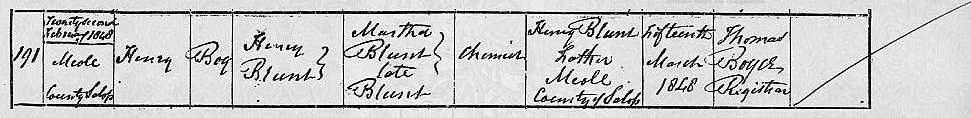 birth certificate of Henry Blunt born 1848