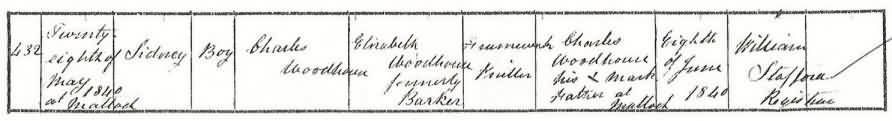 birth certificate of Sidney Woodhouse