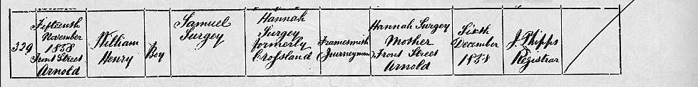 birth certificate of William Henry Surgey born 1858