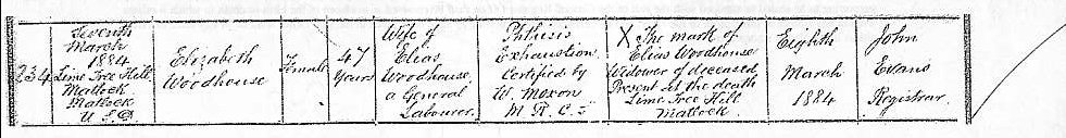 death certificate of Elizabeth Woodhouse
