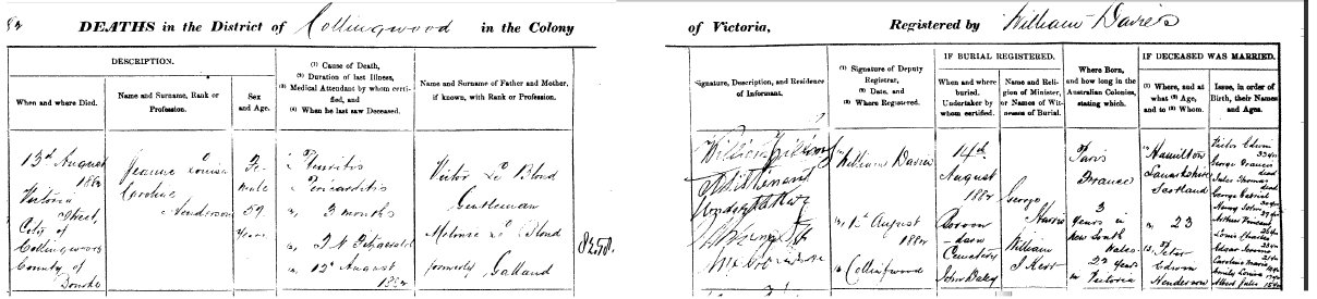 Entry on Register of Deaths for Jeanne Louisa Caroline Henderson (nee Le Blond) died 1882
